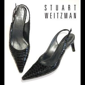STUART WEITZMAN Black Slingback Pumps